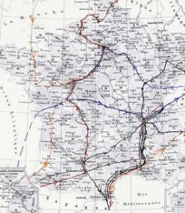 Carte d'itinéraires de pèlerins en France au XVe siècle