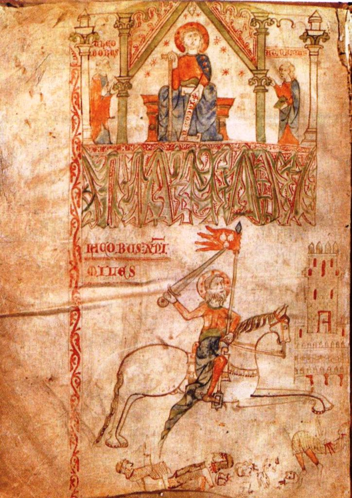 Enluminure du premier folio du Tumbo B présentant les deux images de saint Jacques,